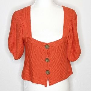 Intimately Free People Orange Women's Crop Sweater